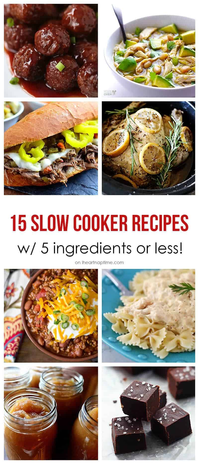 15 Slow Cooker Recipes with 5 ingredients or less on iheartnaptime.com