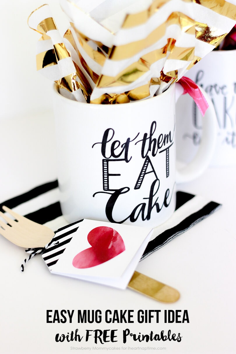 easy mug cake gift idea with free printables   i heart nap