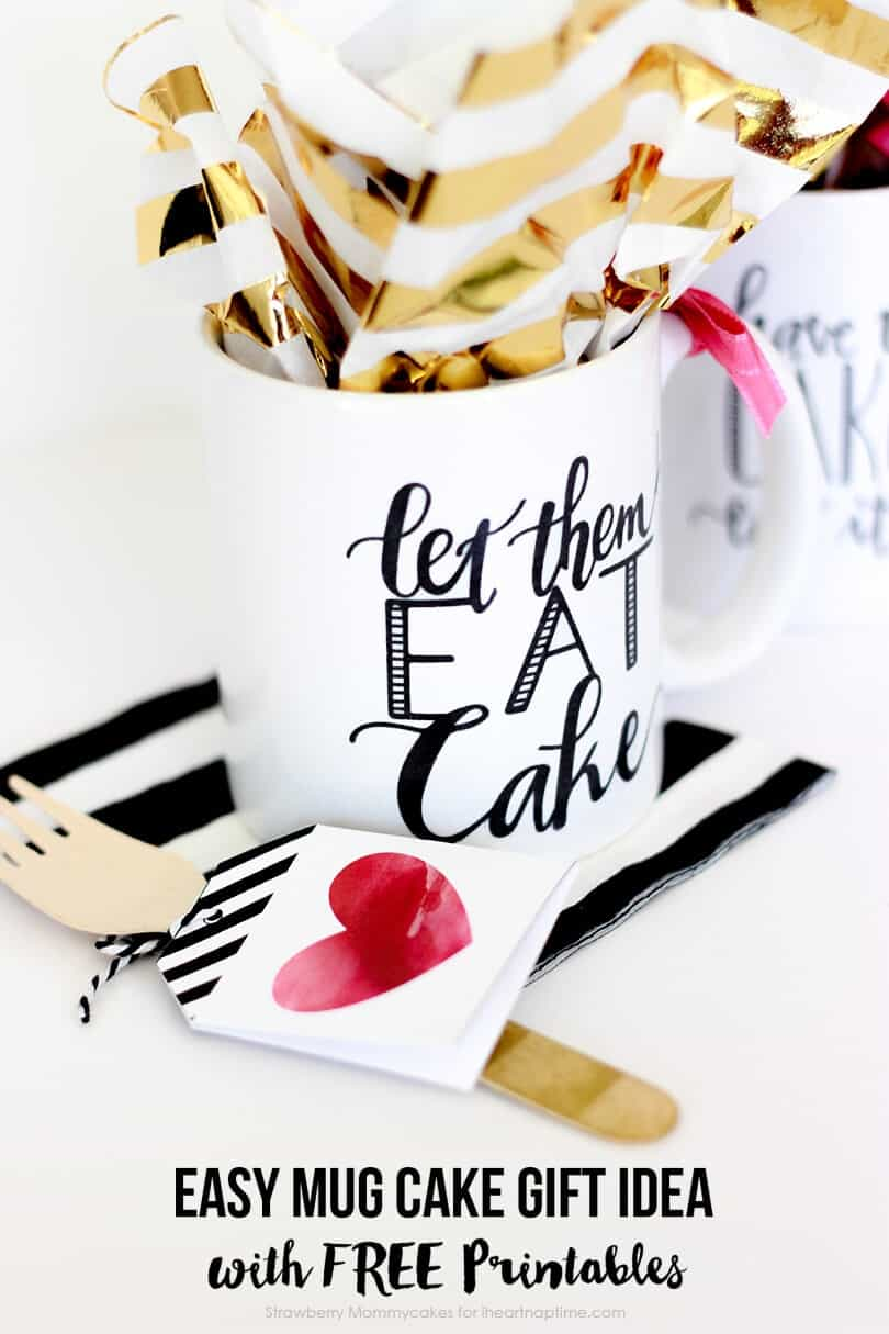 Create the perfect gift for teachers, neighbors or coworkers with this Easy Mug Cake Gift Idea with FREE Printables on iheartnaptime.com