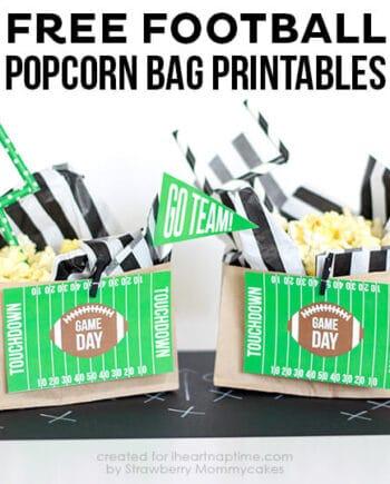 FREE Football Popcorn Bag Printables