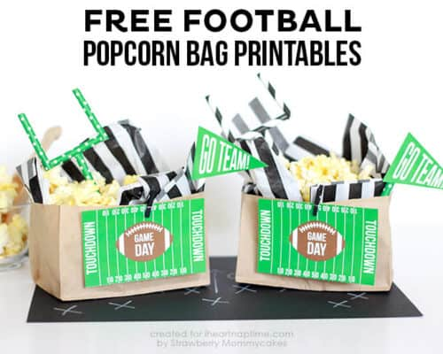 FREE Football Popcorn Bag Printables