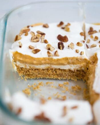pumpkin cheesecake lasagna in baking dish