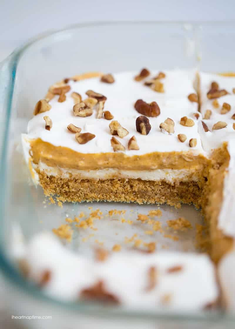 pumpkin cheesecake lasagna in a baking dish