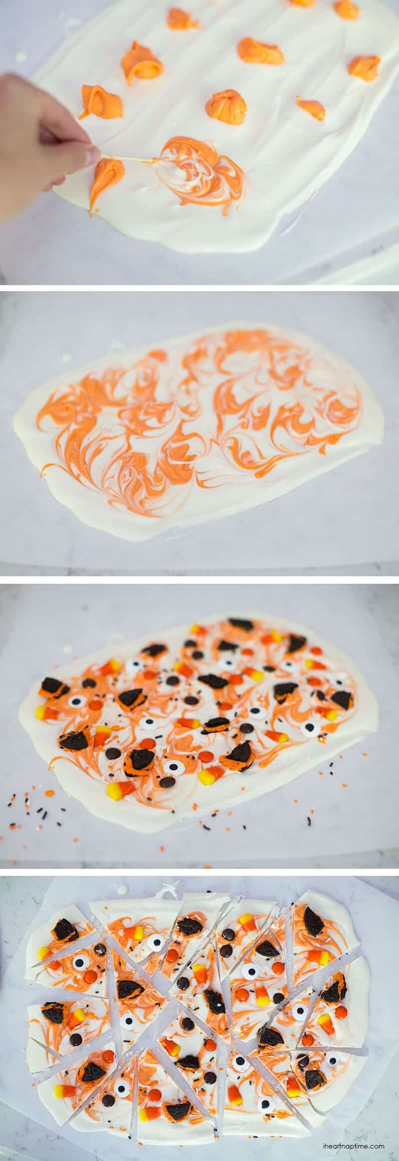This Halloween candy bark is super easy to make, a kid favorite and can be customized with your favorite candies! Tie it up and give it with the free, printable tag on iheartnaptime.com