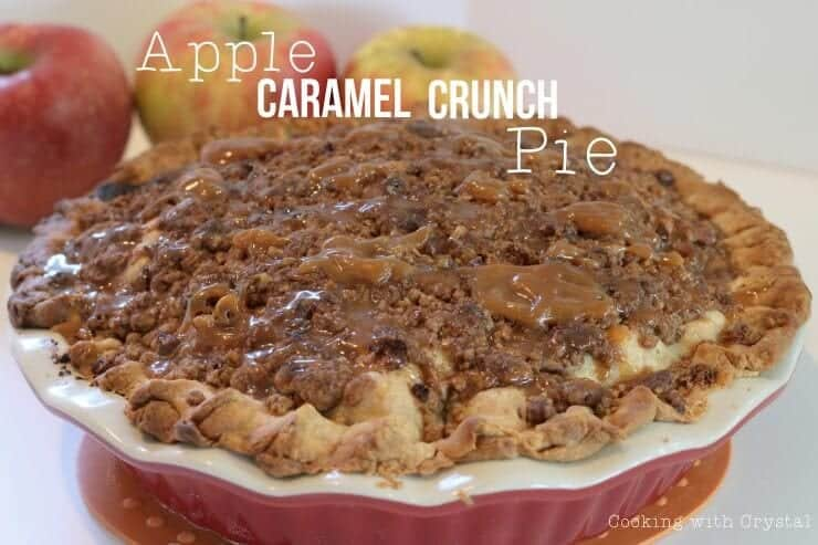 apple caramel crunch pie in pie dish