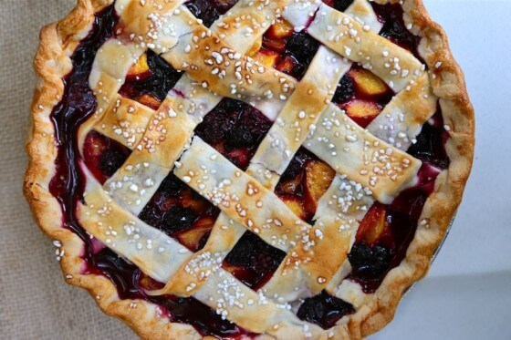 blackberry nectarine pie with lattice crust