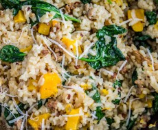 Slow Cooker Risotto with Butternut Squash and Sausage - an easy weeknight meal perfect for autumn! Featured on iheartnaptime.com