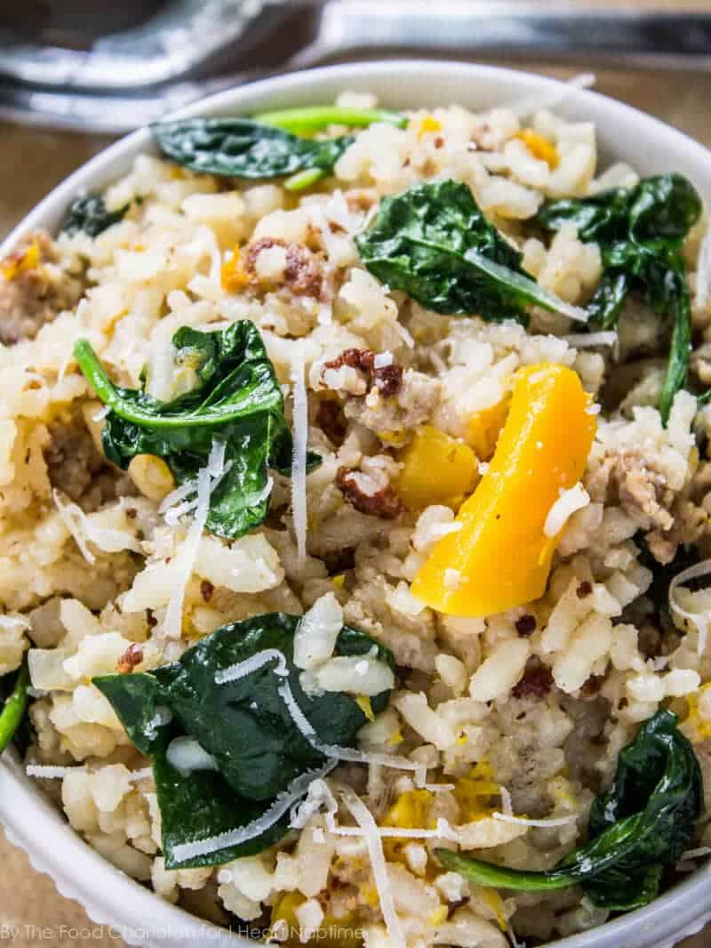 bowl of butternut squash and sausage risotto