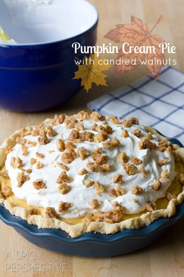 pumpkin cream pie with candied walnuts on top