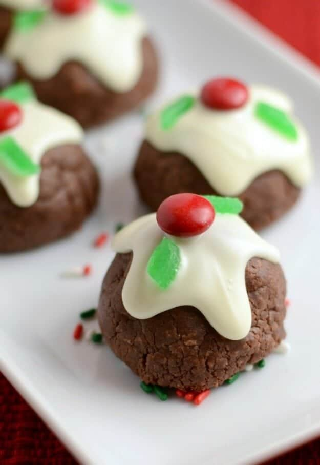 Caramel-filled Chocolate Bon Bon cookies - a pretty and decadent Christmas cookie!