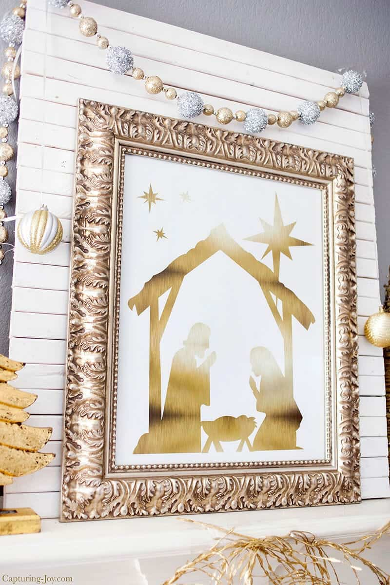 Gold Foil Nativity - free printable, available at iheartnaptime.com