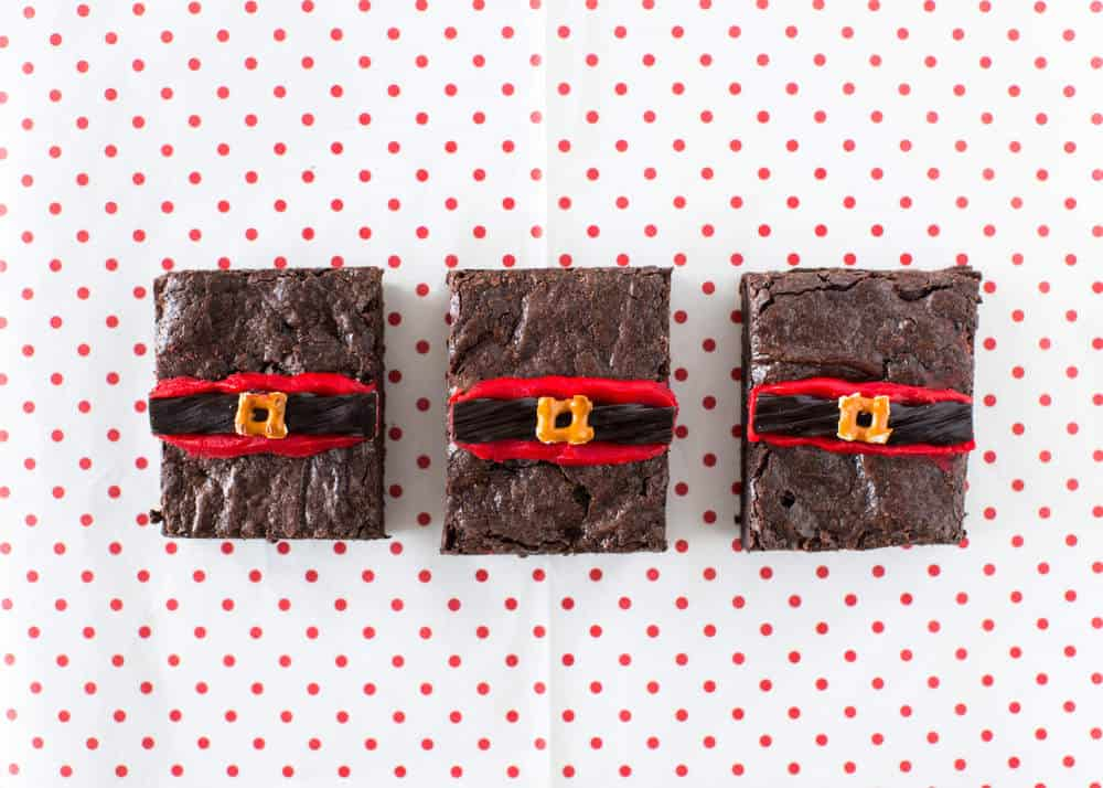 Santa Fudge Brownie Bars - chewy, rich fudge brownies dressed up with Santa belts for Christmas!