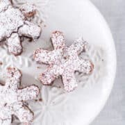 rolo snowflake brownies on plate