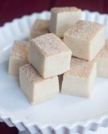 stack of snickerdoodle fudge on a white plate