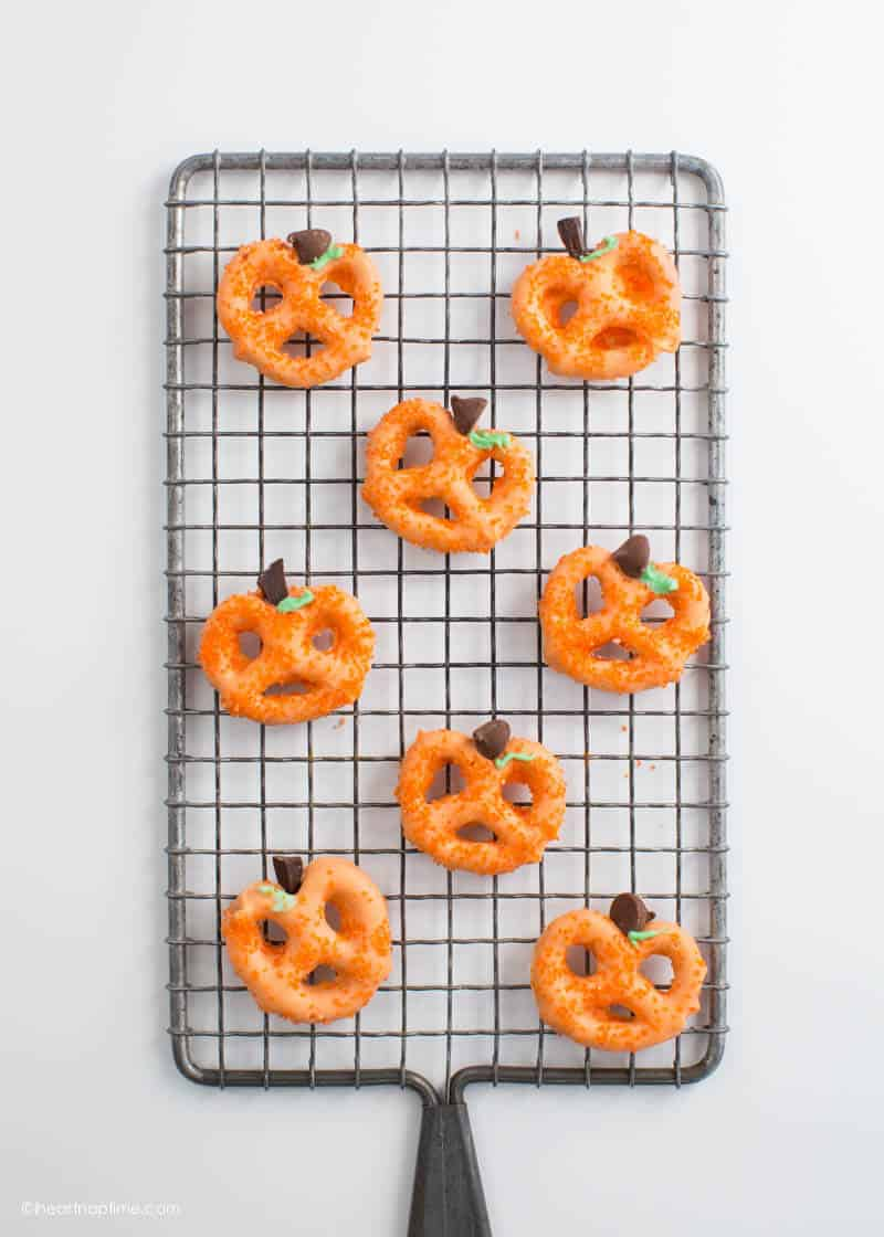Quick, easy, and delicious Chocolate Covered Pretzel Pumpkins make the perfect family-friendly project and snack!