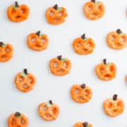 chocolate covered pretzel pumpkins on table