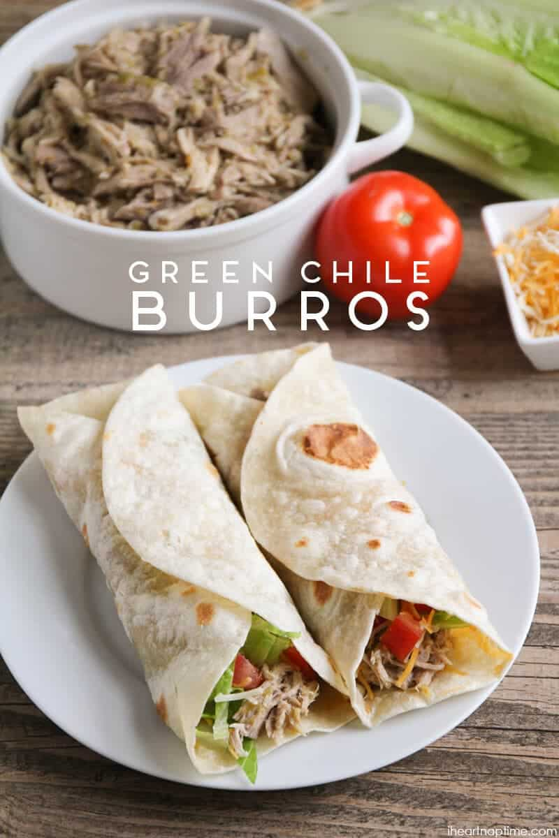 Green Chile Burros - delicious, easy, and perfect for a weeknight dinner for busy families!