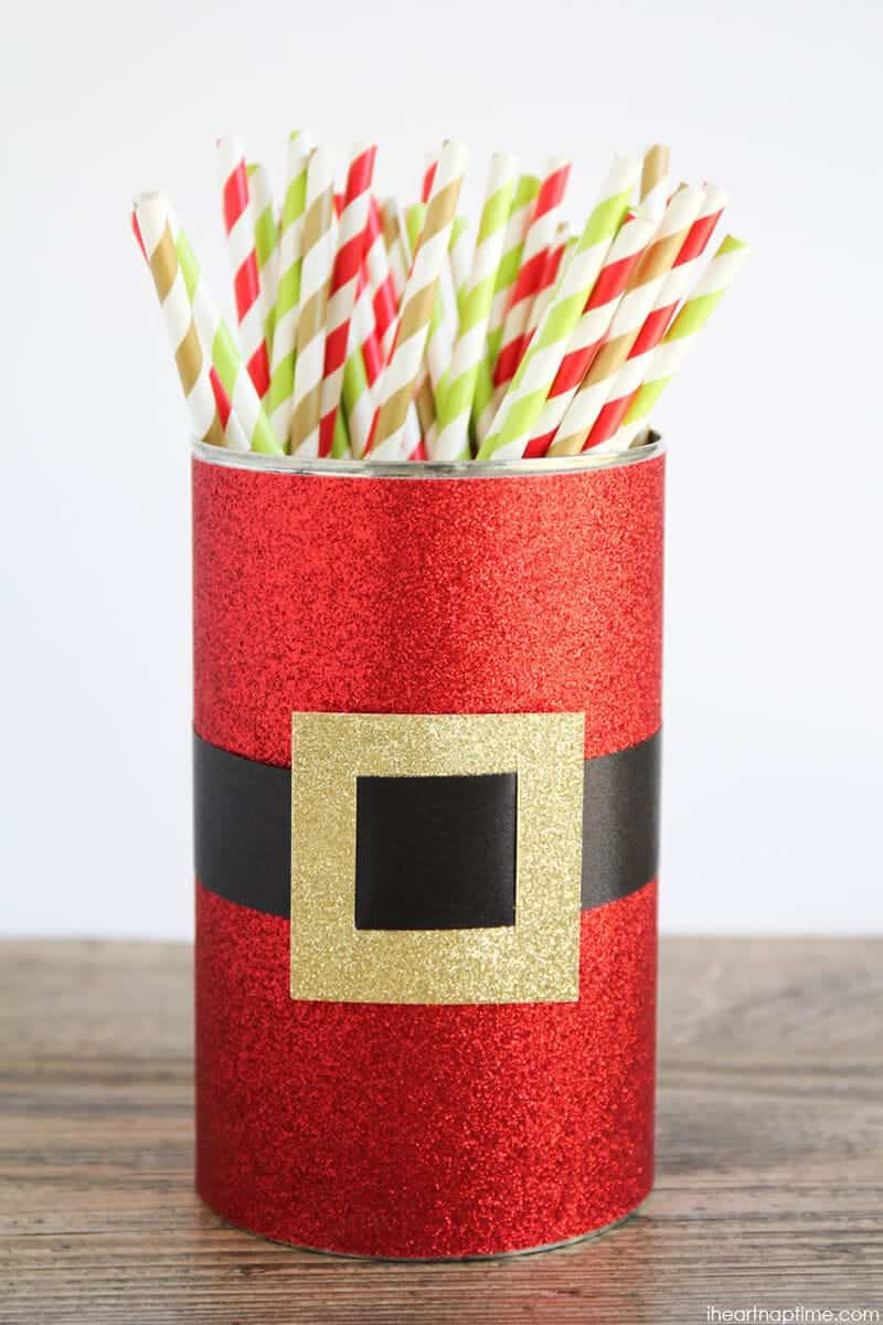 Santa Straw Holder made from a DOLE pineapple juice can
