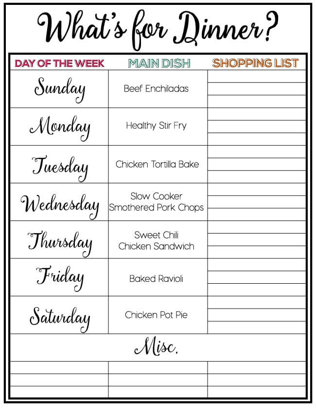 how to plan weekly meals