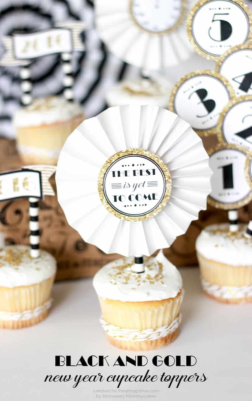 Cupcake Decorating Ideas New Years Eve : Black and Gold New Year Cupcake Toppers - I Heart Nap Time