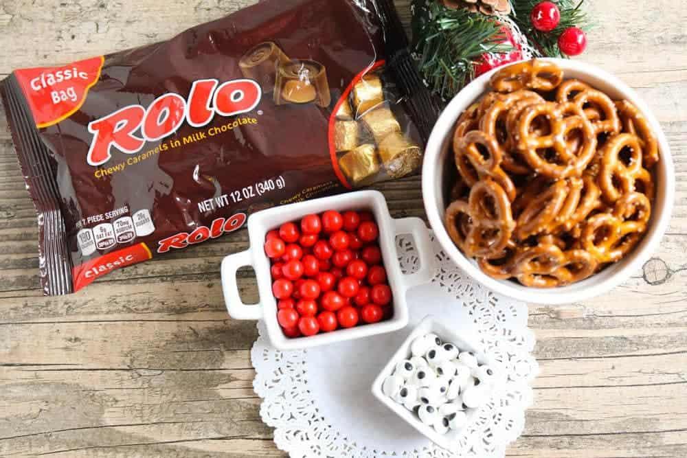 rolo pretzel reindeer ingredients on table