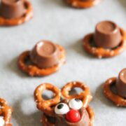 rolo pretzel reindeer treats on table