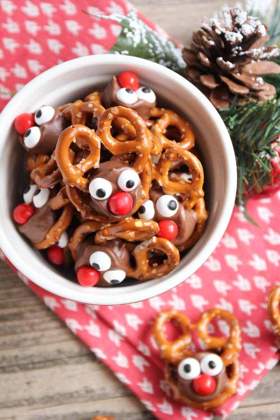 rolo pretzel reindeer in bowl