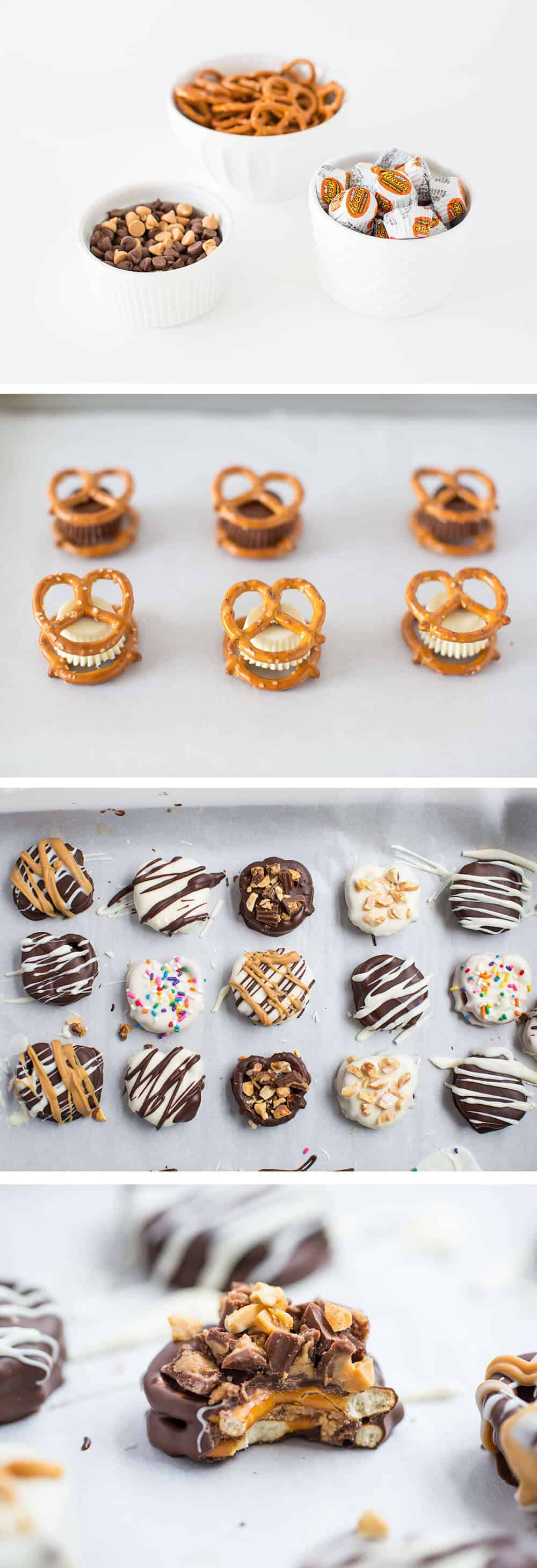 chocolate dipped reese\'s pretzels on table