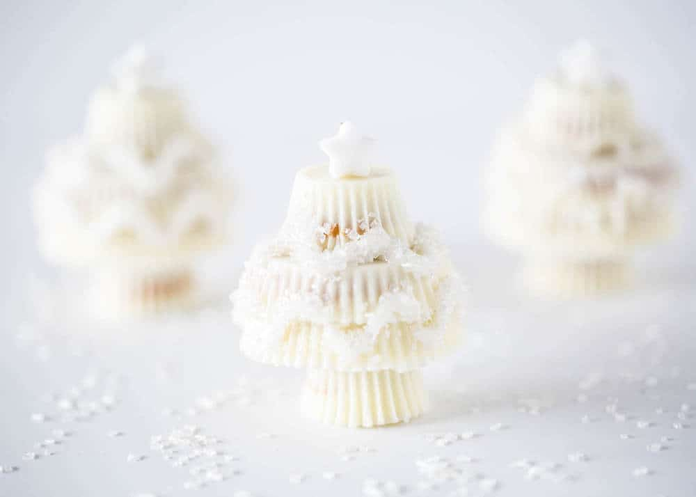 white chocolate reese\'s christmas trees on table