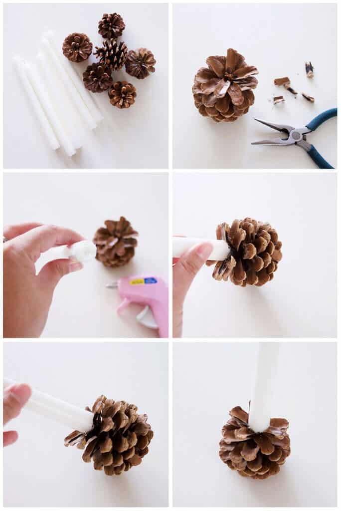 diy pine cone candle holders i heart nap time. Black Bedroom Furniture Sets. Home Design Ideas