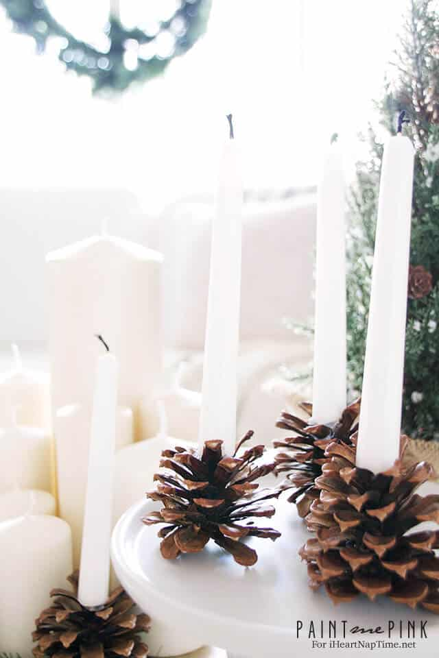 diy pine cone candle holders elegant understated winter candle holders perfect for - Diy Candle Holders