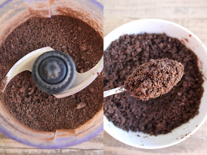 blending chocolate graham cracker crust in food processor