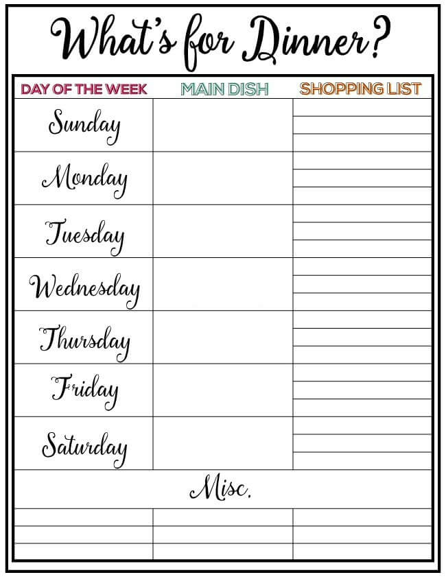 Weekly Meal Plan #8 - I Heart Nap Time