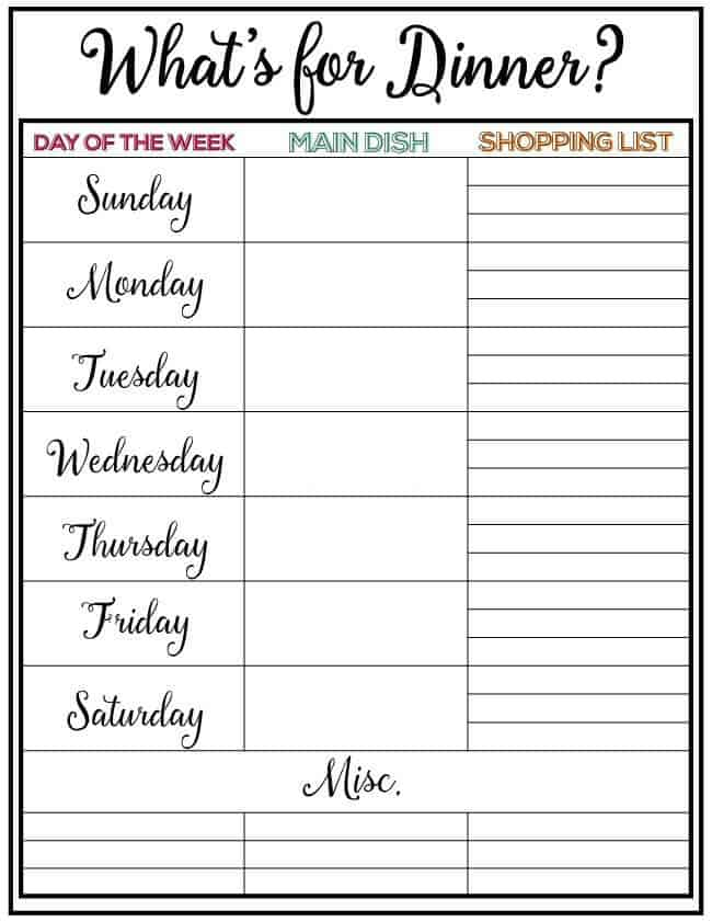 Weekly Meal Plan   I Heart Nap Time