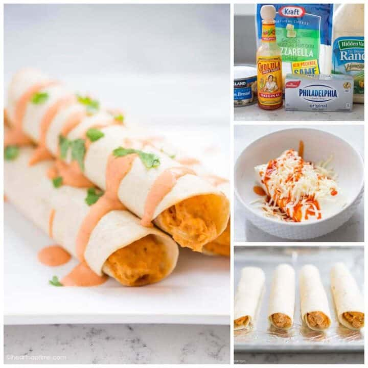 buffalo chicken taquitos made with leftover dip