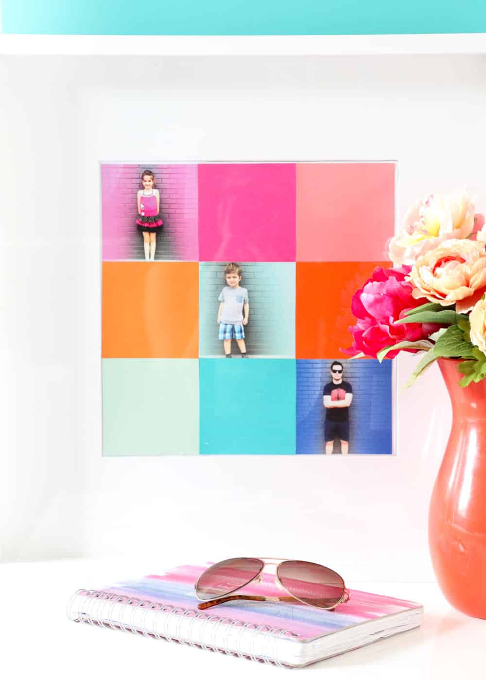 Easy Colorblock Family Photo Collage - this treasure is easy and fast to make, and will brighten the day for the lovely moms in your life!