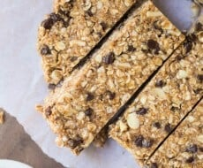 Favorite No Bake Homemade Granola Bars - made with only 5 ingredients! This is a super easy recipe that you can customize with your favorite ingredients.