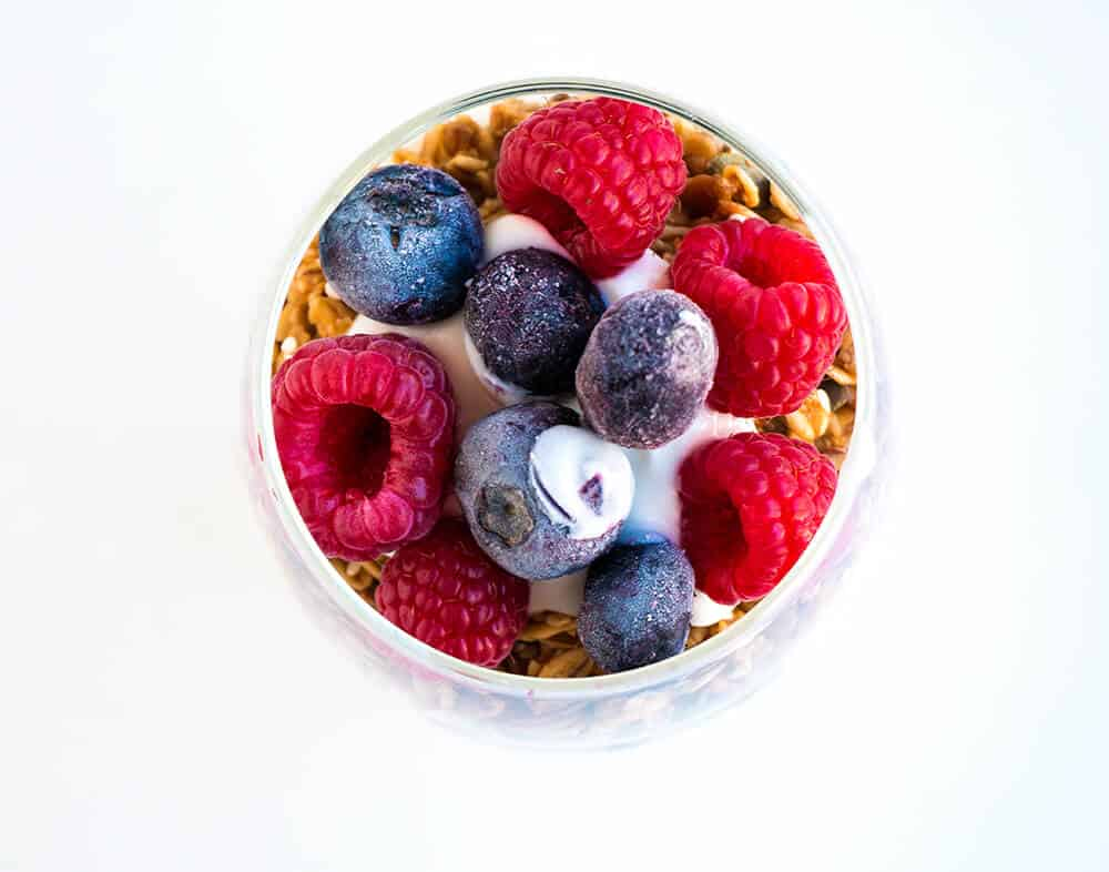 yogurt parfait with berries and granola