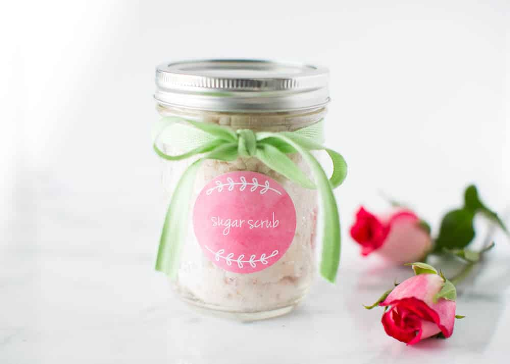 Homemade Vanilla Sugar Scrub with Roses ...takes only 4 ingredients and 5 minutes to make! So simple and will leave your skin silky-smooth.