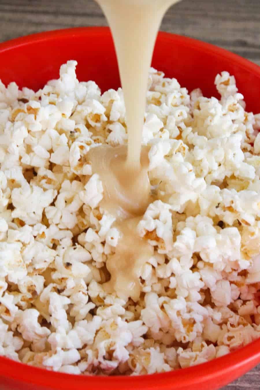 caramel corn ingredients in bowl