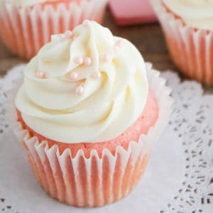 Pink Velvet Cupcakes - These velvety smooth one-bowl cupcakes are delicious and easy, too! Perfect for Valentine's Day or any day!