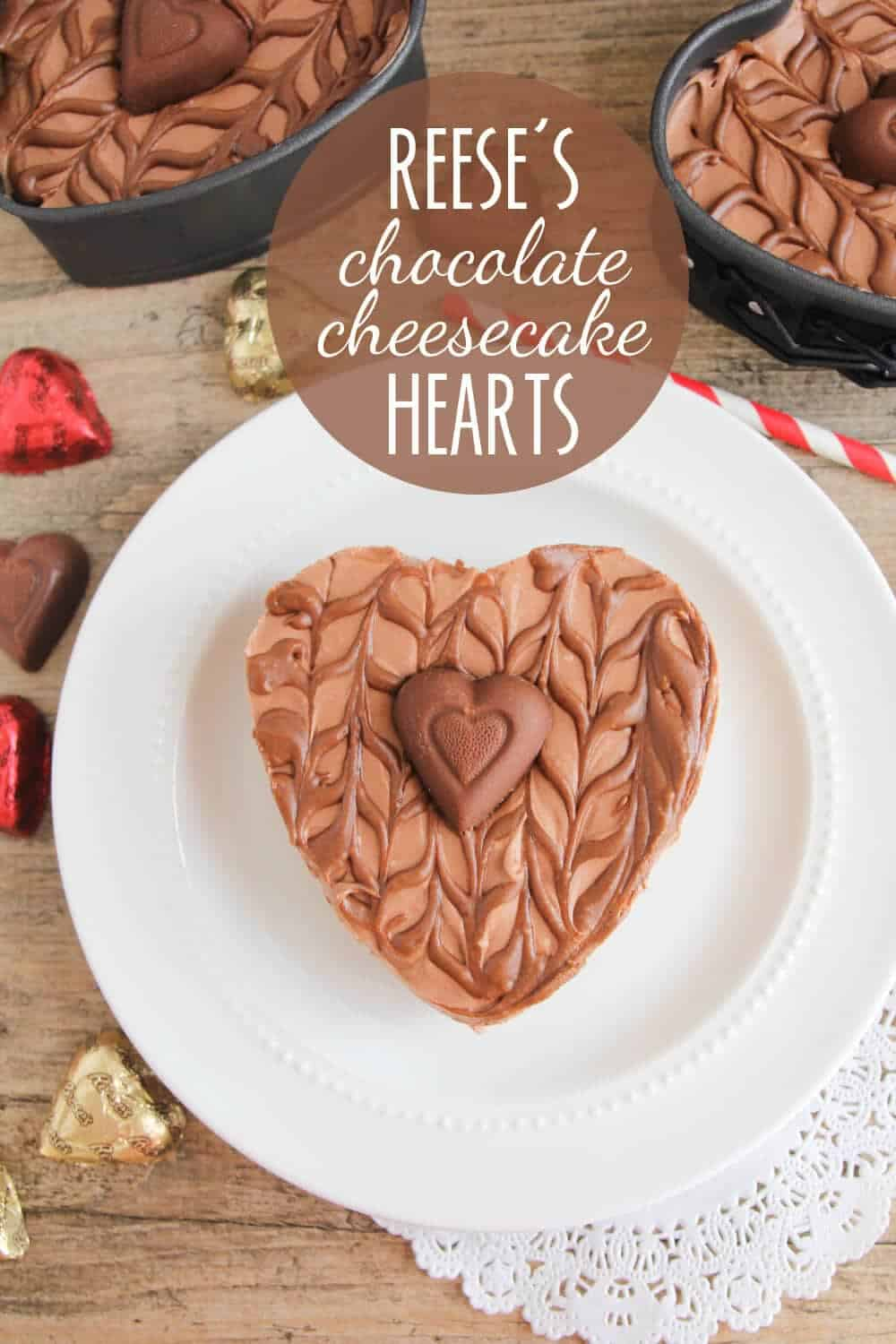 Reese's Chocolate Cheesecake Hearts - These rich and decadent mini cheesecakes are so simple to make and delicious too. An elegant dessert that's perfect for sharing with your sweetheart!