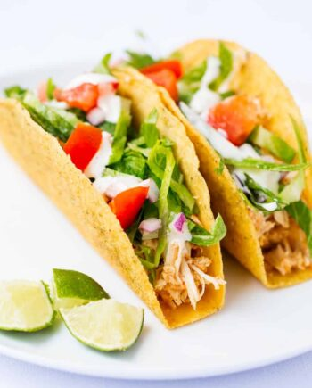 slow cooker chicken tacos in taco shell