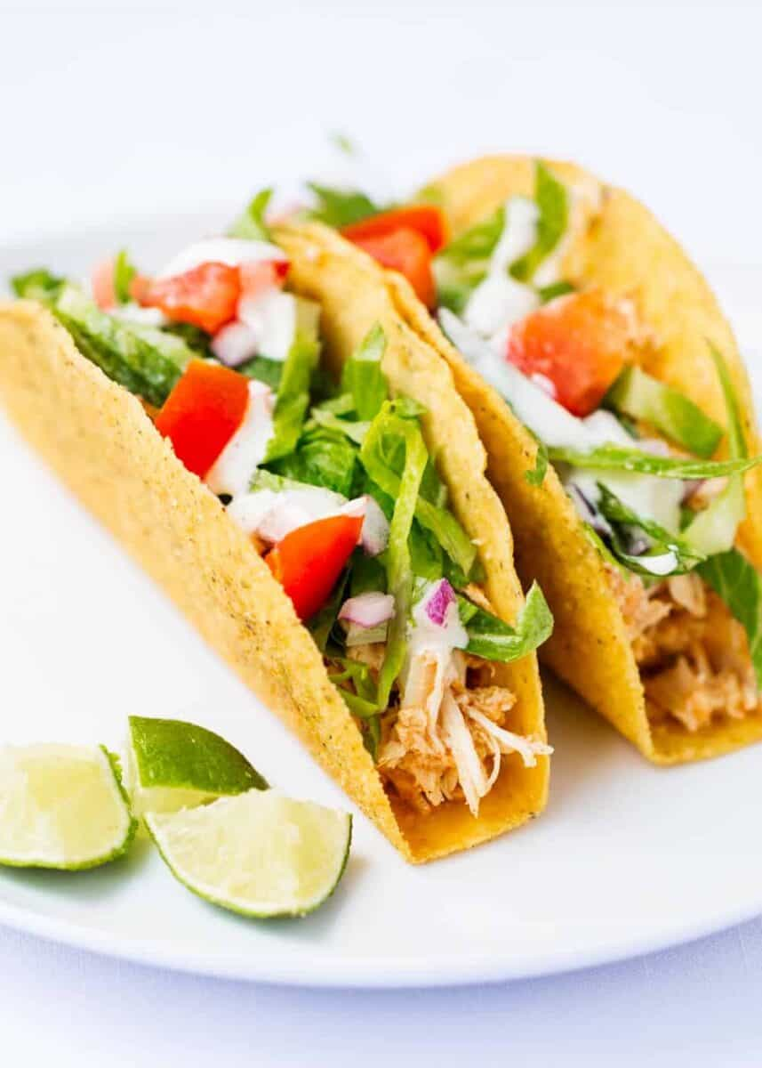 slow cooker ranch chicken tacos on plate