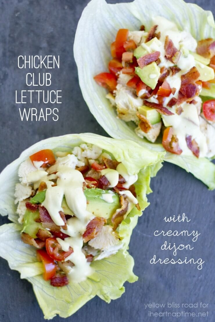 Chicken Club Lettuce Wraps with Creamy Dijon Dressing | Top 50 St. Patrick's Day Green Food - have fun with St. Patrick's Day and surprise your family and friends with these fun, festive green recipes!