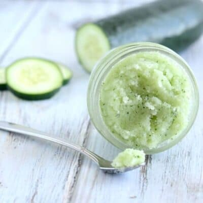 Cucumber Mint Sugar Scrub - So easy to make, and a great way to soften and revive dry, sluggish skin!