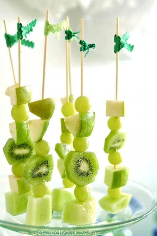 Green Healthy Fruit Skewers | Top 50 St. Patrick's Day Green Food - have fun with St. Patrick's Day and surprise your family and friends with these fun, festive green recipes!