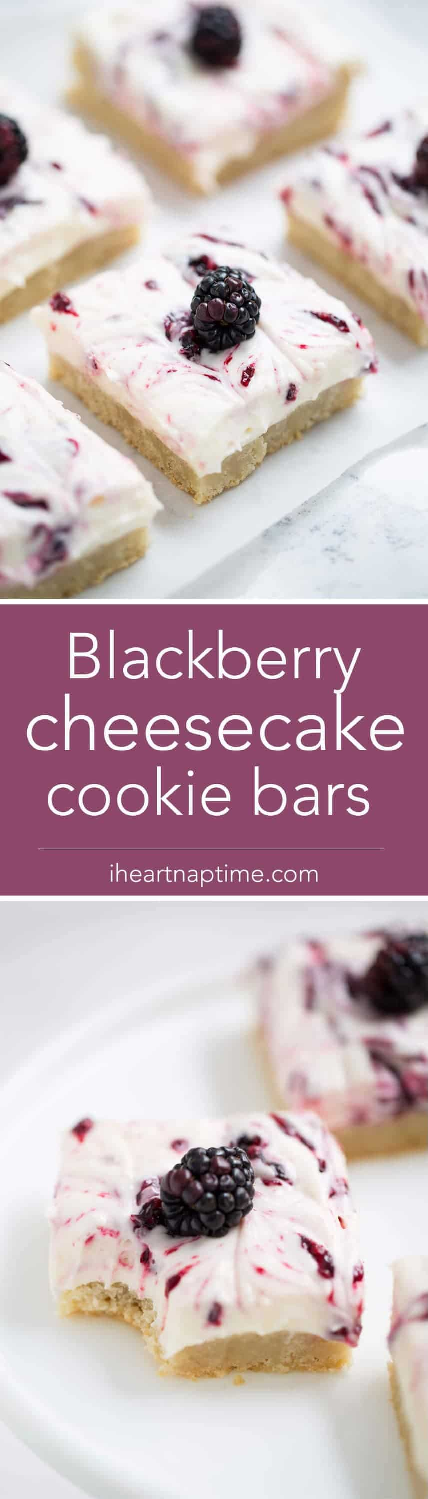 Blackberry Cheesecake Bars - made with a sugar cookie crust, cream cheese filling, and blackberry topping. An incredibly easy dessert to make and seriously divine. These are the absolute perfect treat for Spring!
