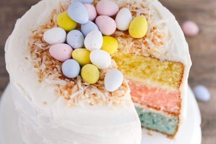 easter egg cake with a slice taken out