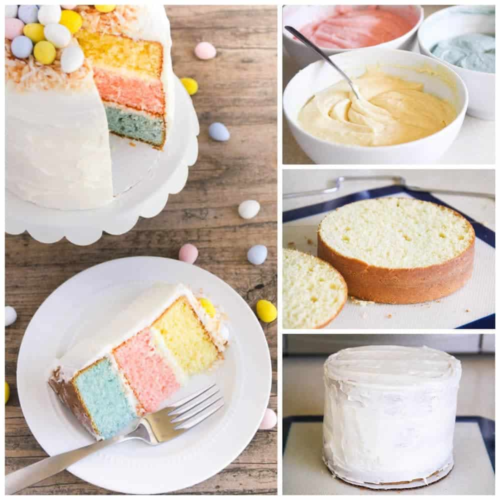 Easter Egg Layered Cake - A colorful vanilla cake topped with whipped ...